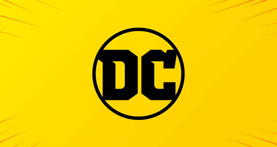 DC Comics logo in black on yellow background