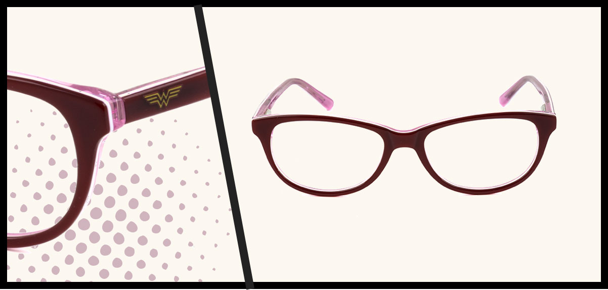 A burgundy pair of Wonder Woman children's glasses.