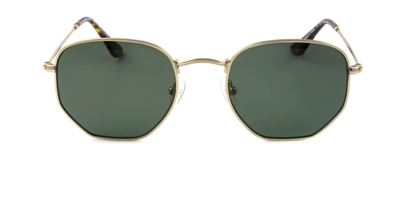 A pair of sunglasses with gold frames and lenses with a circular top and octagonal bottom.