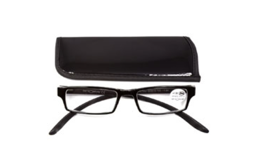 Image of a black glasses case and a pair of narrow rectangular prescription glasses with black frames.