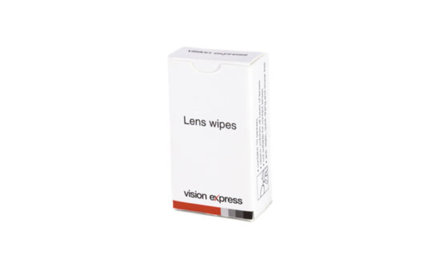 A cut-out image of a white box of Vision Express lens wipes, showing the front and sides.