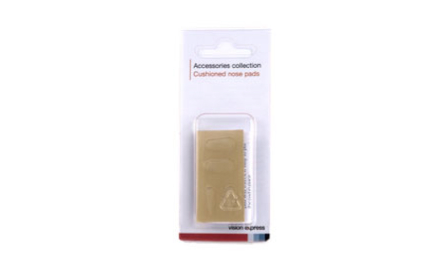 Cut-out image of a pack of brown adhesive nose pads for glasses, contained in a clear plastic blister pack.