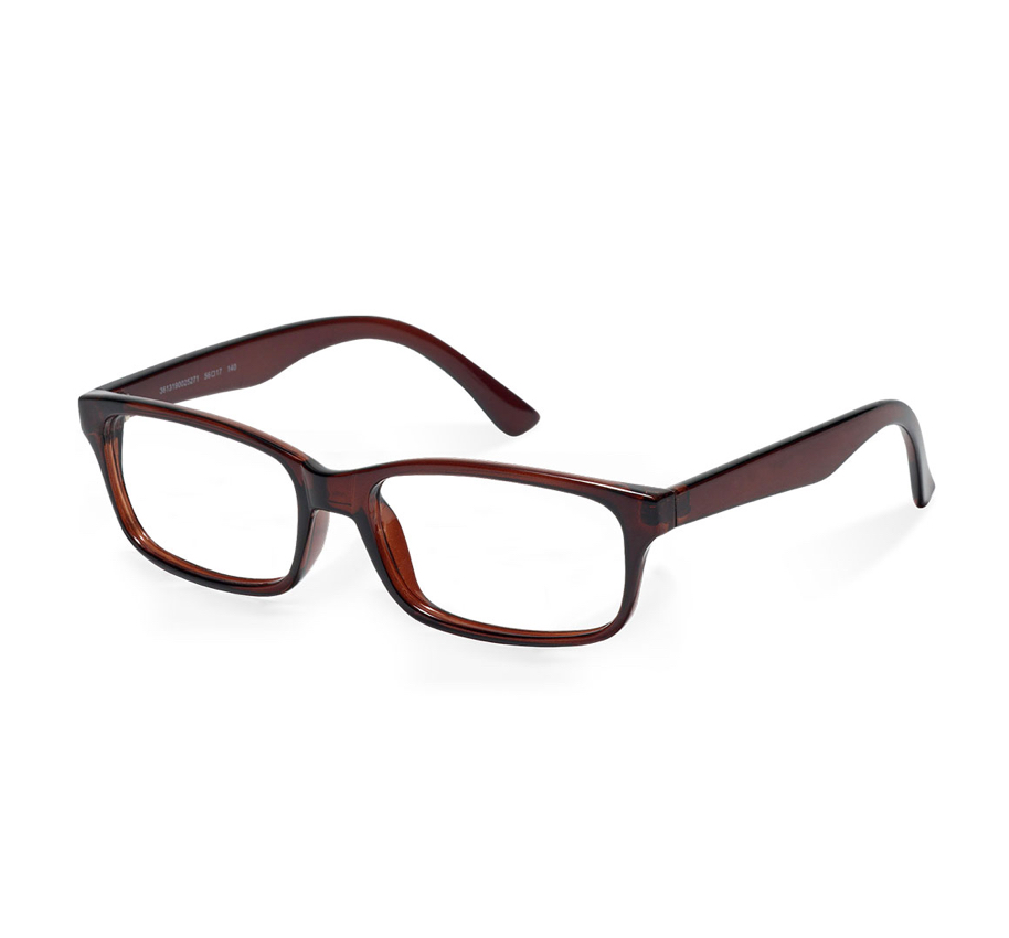 Cut-out image on white background of a pair of prescription glasses with a dark rectangular frame.