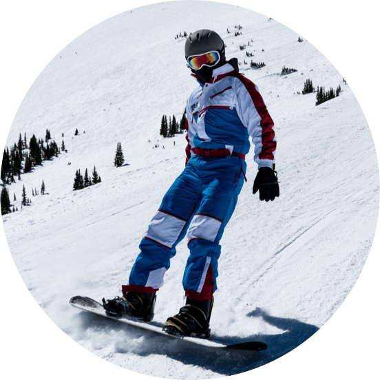 A man on a mountain slope on a snowboard wearing in a blue and white snow suit, ski goggles and a black helmet.
