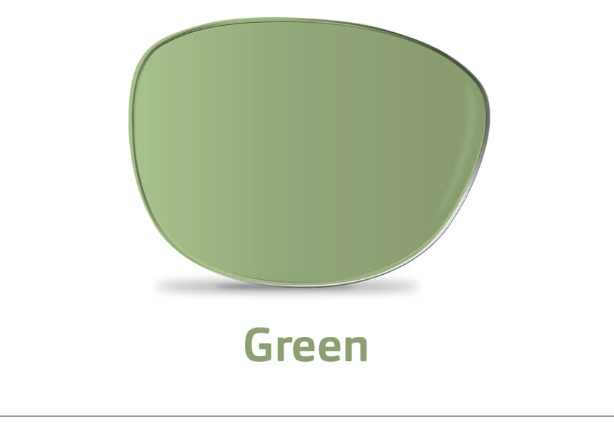 An image of a single green lens.