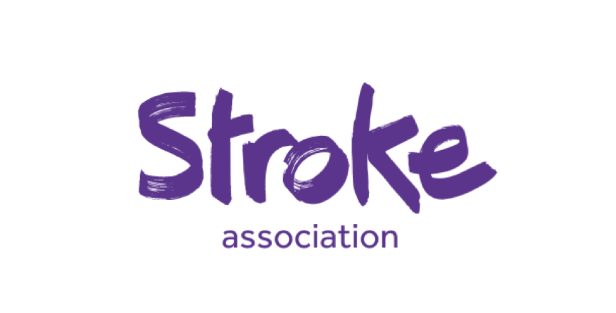 Logo of the Stroke association in purple on a white background.
