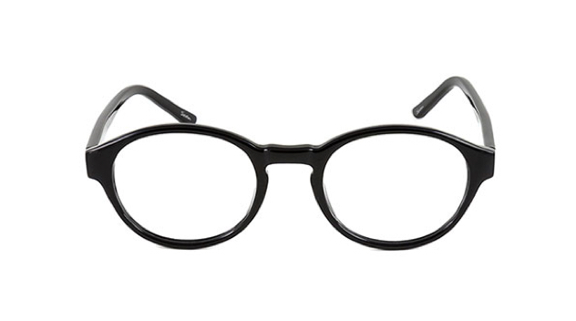 A pair of black circular prescription glasses with clear lenses against a white background.