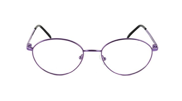 A pair of purple prescription glasses in metal with clear lenses against a white background.