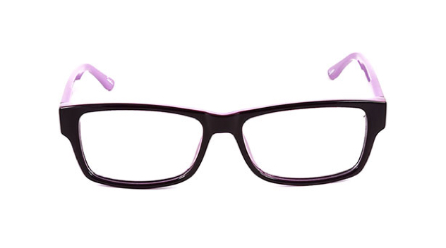 A pair of light and dark purple prescription glasses with clear lenses against a white background.