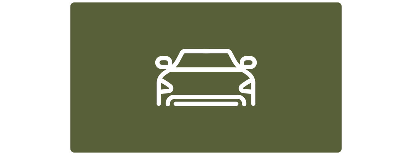 Simple line illustration of front of a car, white on green.