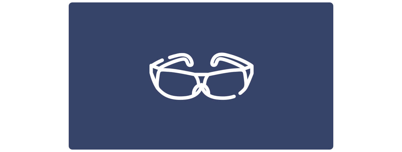 Simple line illustration of safety glasses, white on a blue background.