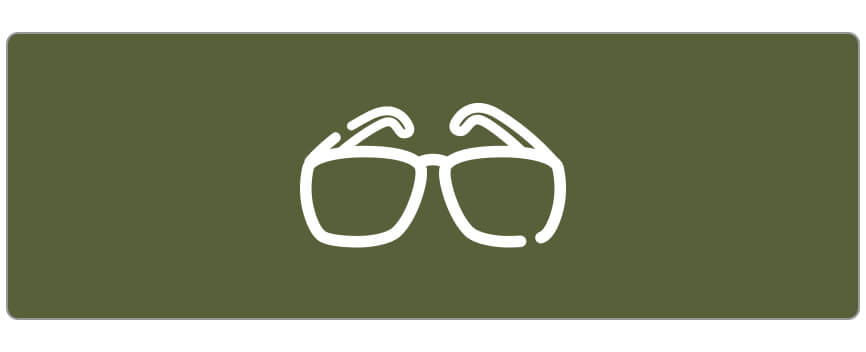 Simple line illustration of a pair of glasses in white on a green background.
