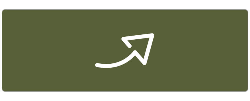Simple illustration of upward-sweeping arrow, white on a green background.