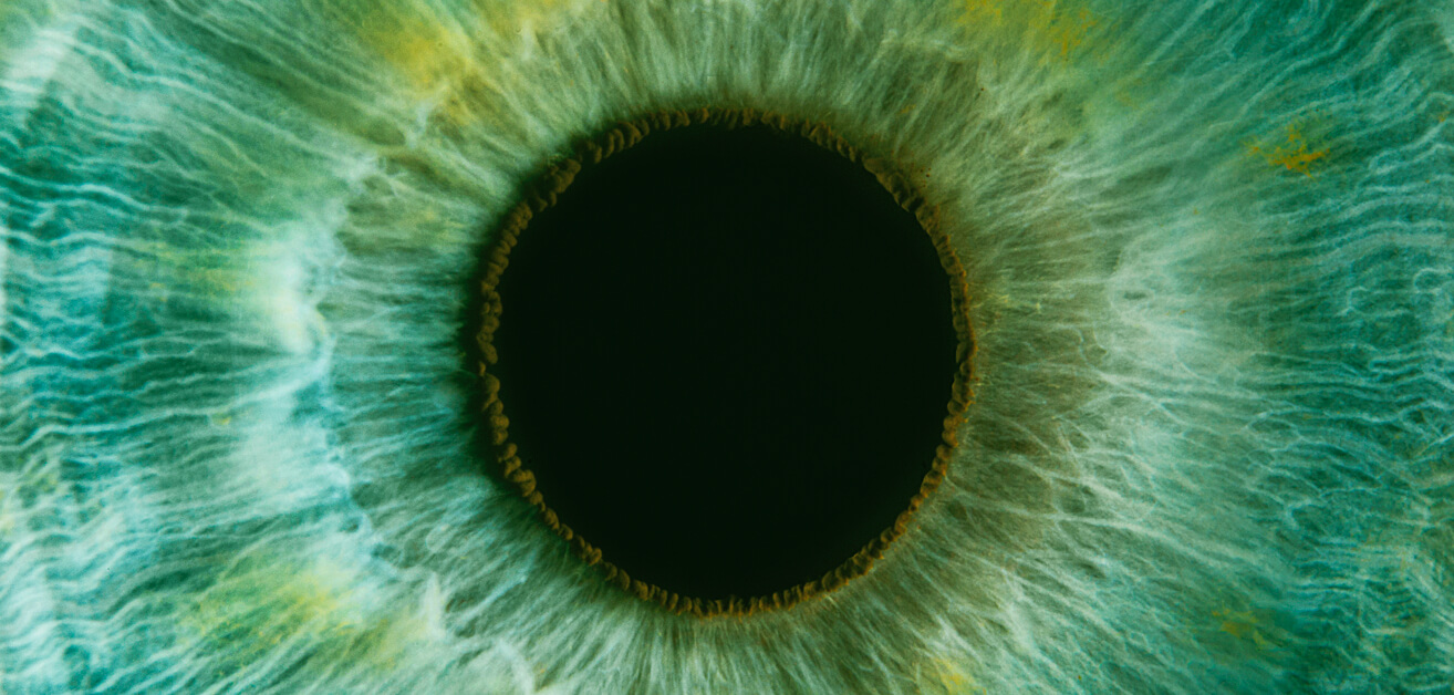 Extreme close-up of human eye with green iris.