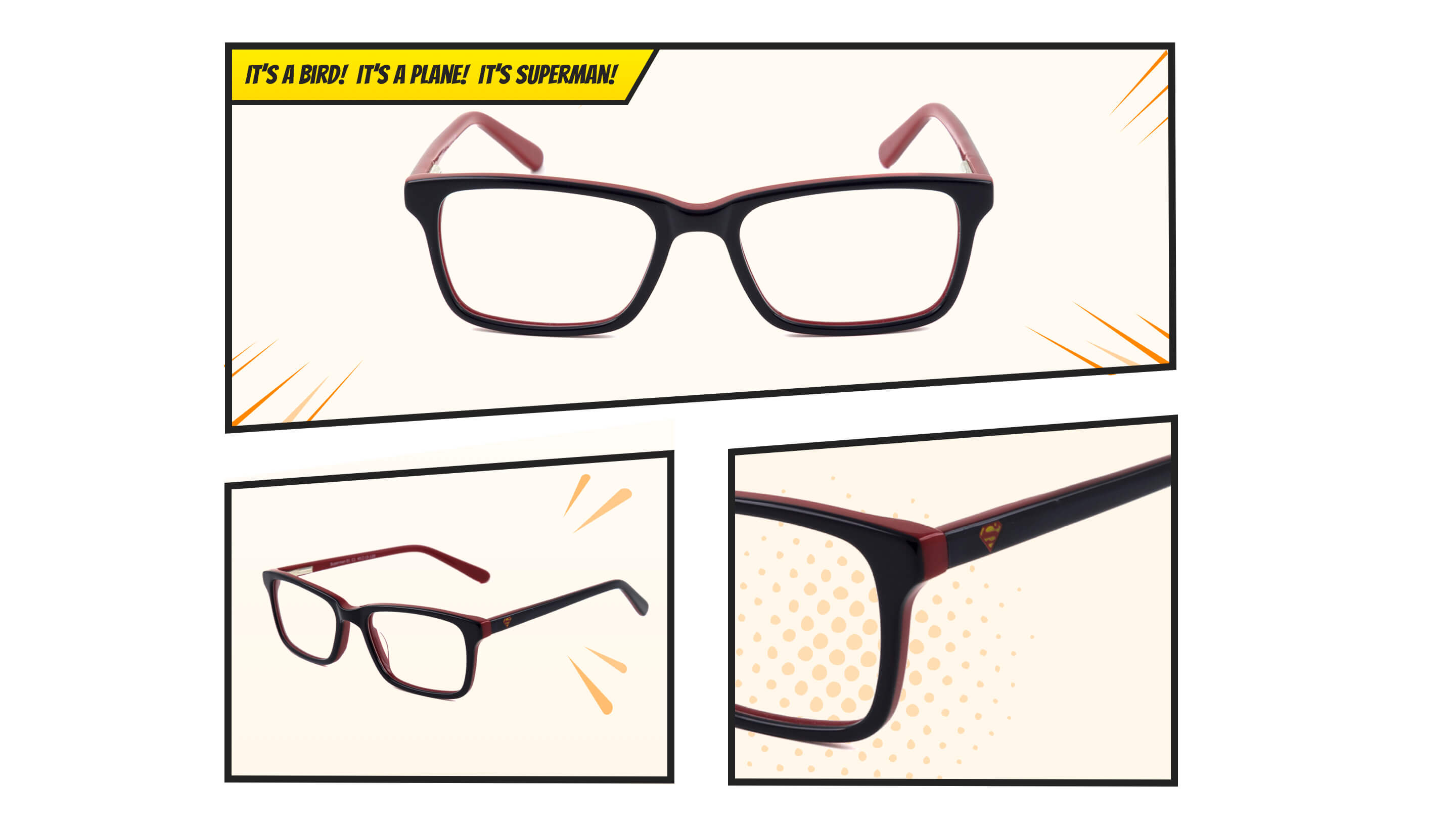 It's a bird! It's a plane! It's Superman. A pair of black and pink Superman glasses.