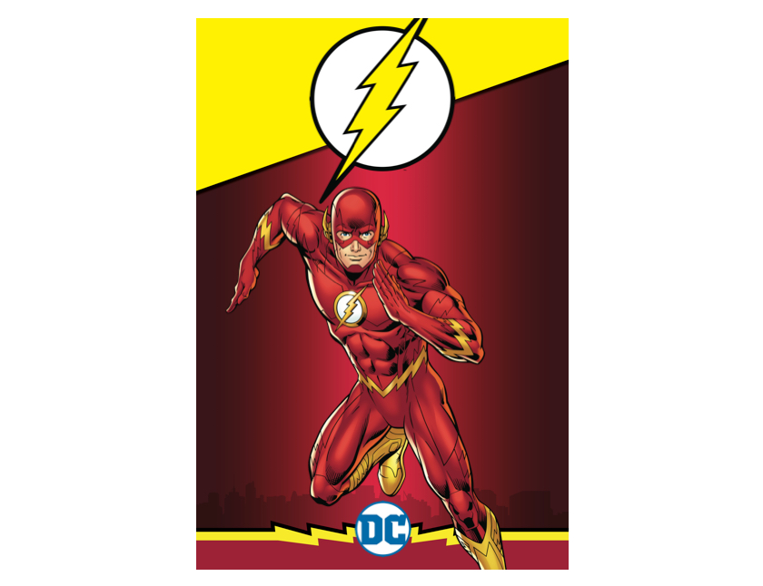 A comic book illustration of The Flash.