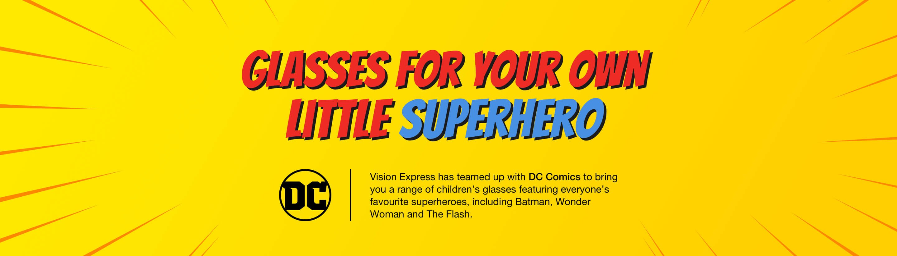 A yellow banner with the DC comics logo and red and white text.