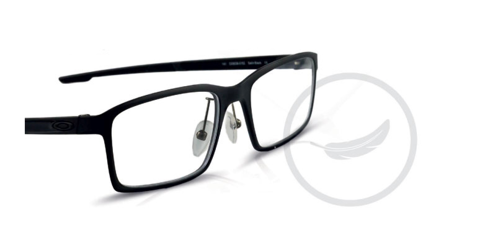 A pair of black Oakley glasses.