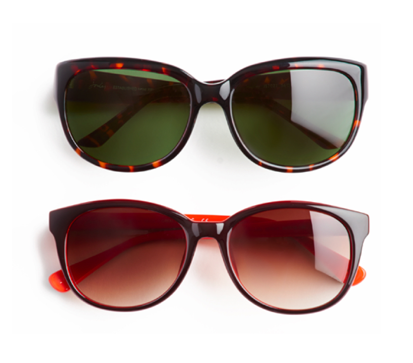 On a white background, a pair of tortoiseshell Joules sunglasses with dark green lenses above a pair of brown Joules sunglasses with brown graduated lenses.
