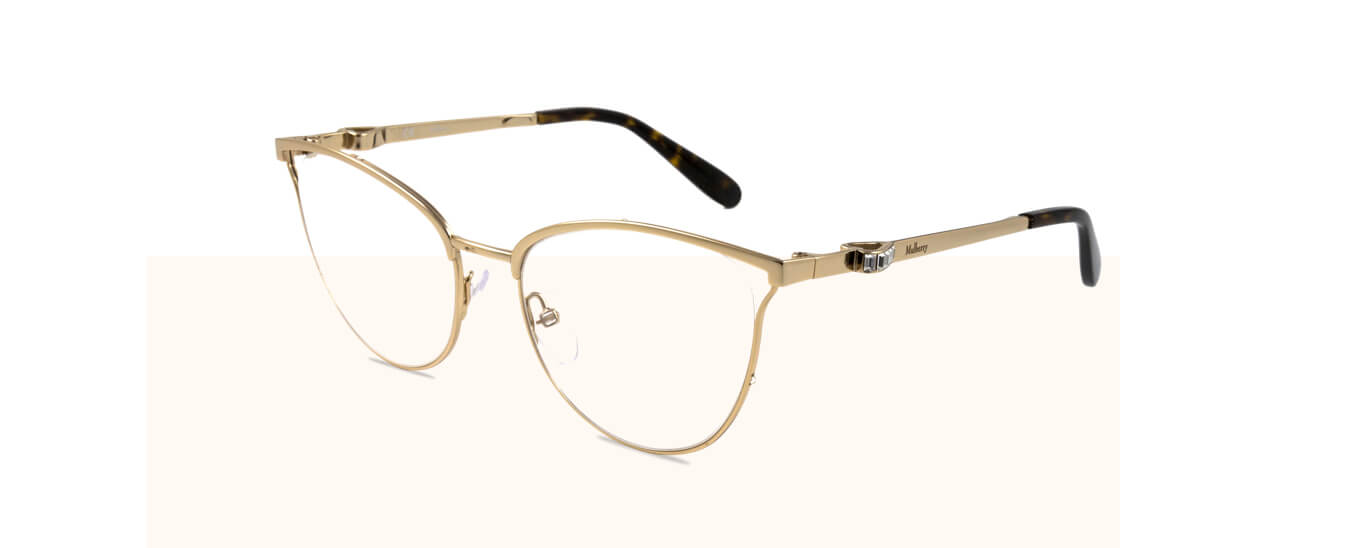 A pair of cats-eye Mulberry glasses with a gold metal frame and prescription lenses.