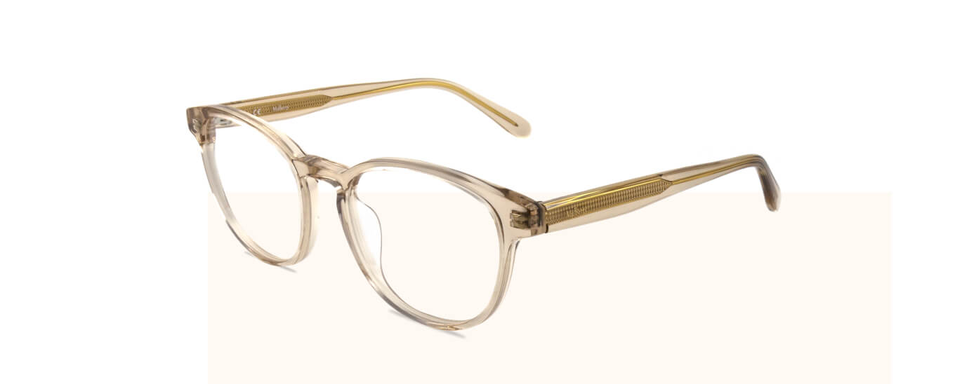 A pair of clear plastic Mulberry glasses with clear prescription lenses.