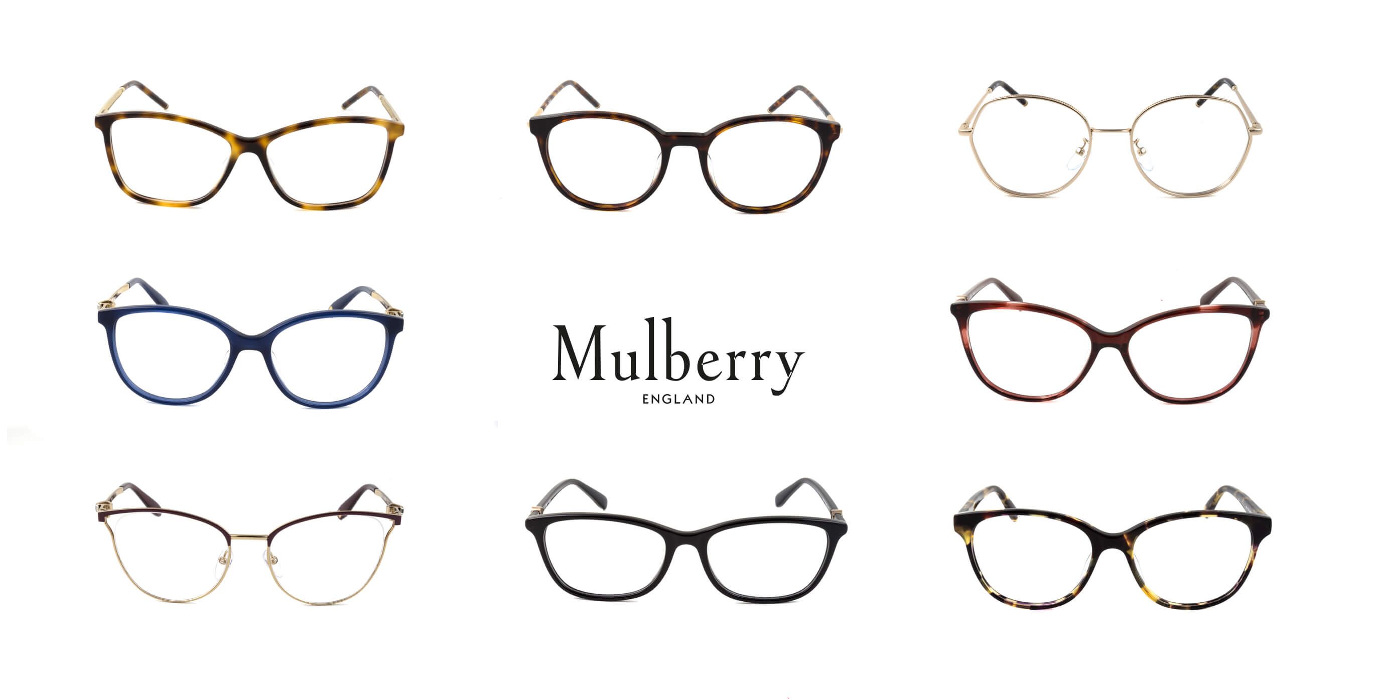 A collection of eight Mulberry glasses with clear prescription lenses.