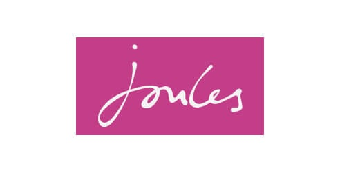 Joules logo on pink background