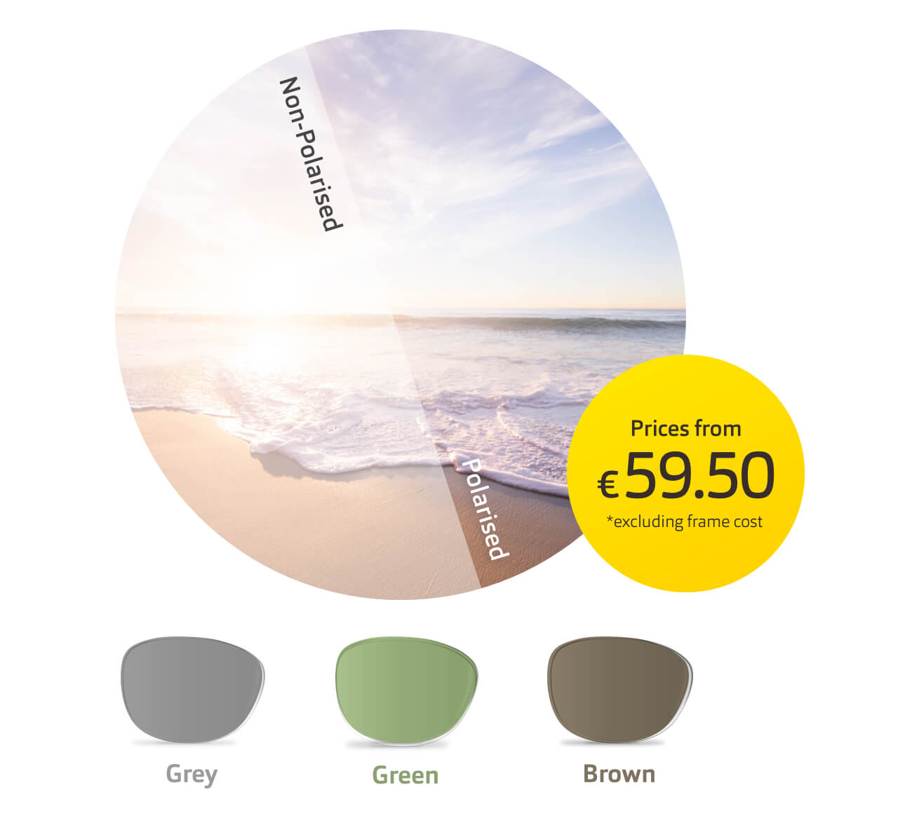Circular image of beach, sea and sky showing effect of polarised lenses. Grey, green and brown lenses appear below.