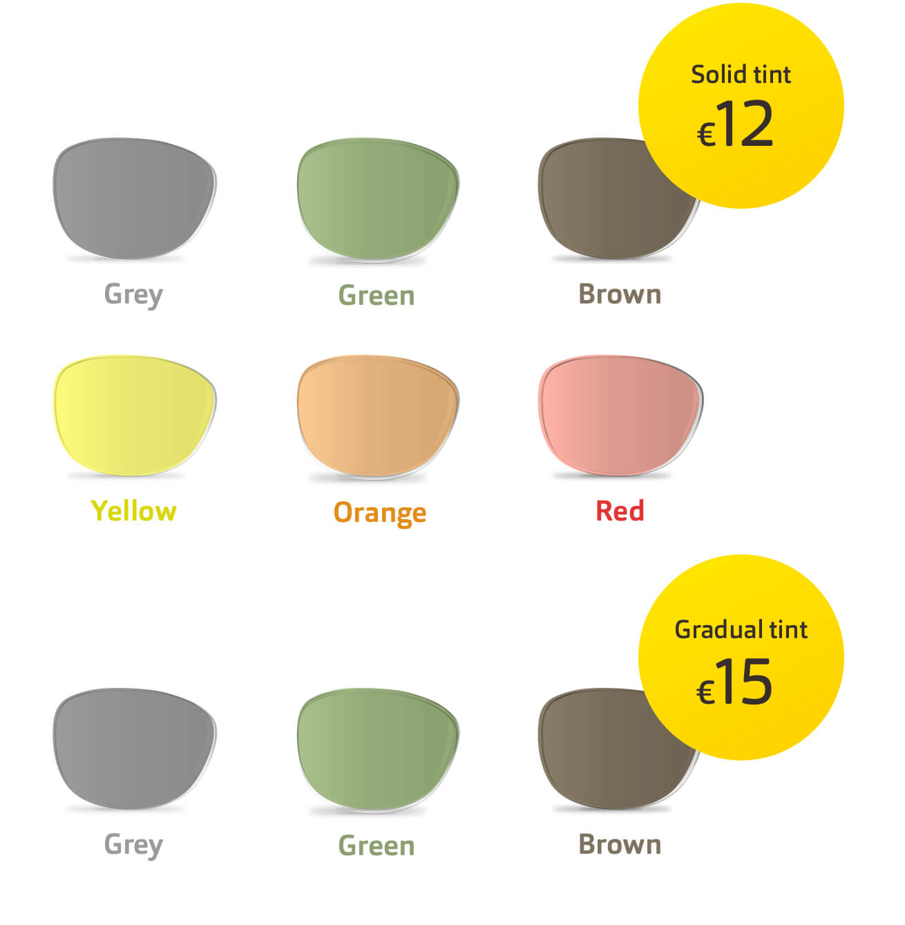A variety of coloured lenses for sunglasses in solid and gradual tints.