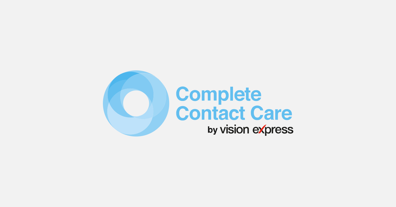 The Vision Express Complete Contact Care logo in blue.
