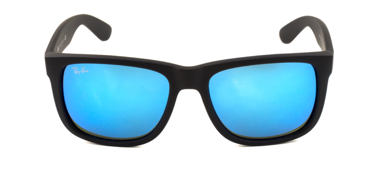 A pair of black Ray-Ban sunglasses with blue mirrored lenses.