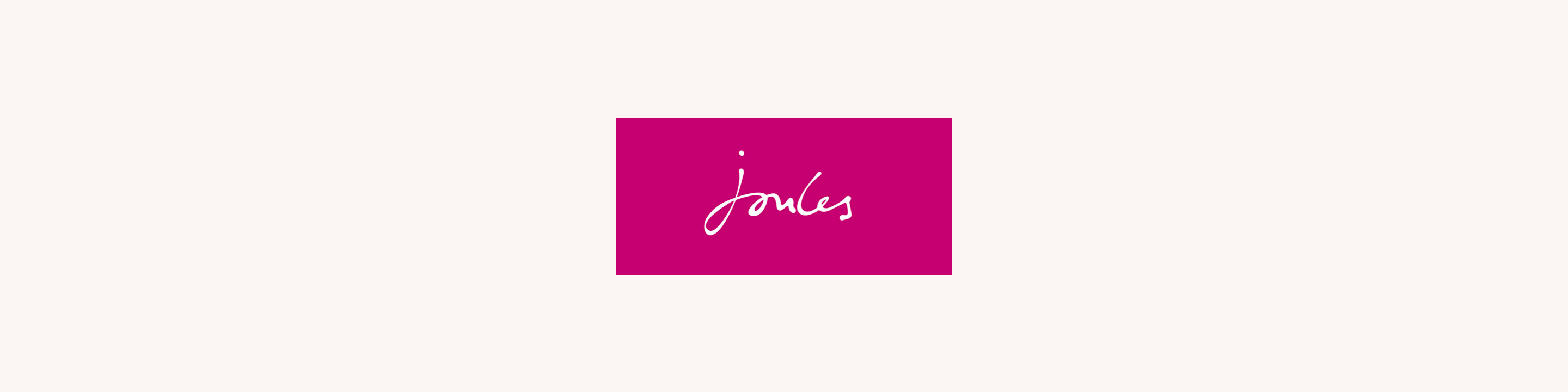 Joules logo in white on a pink square
