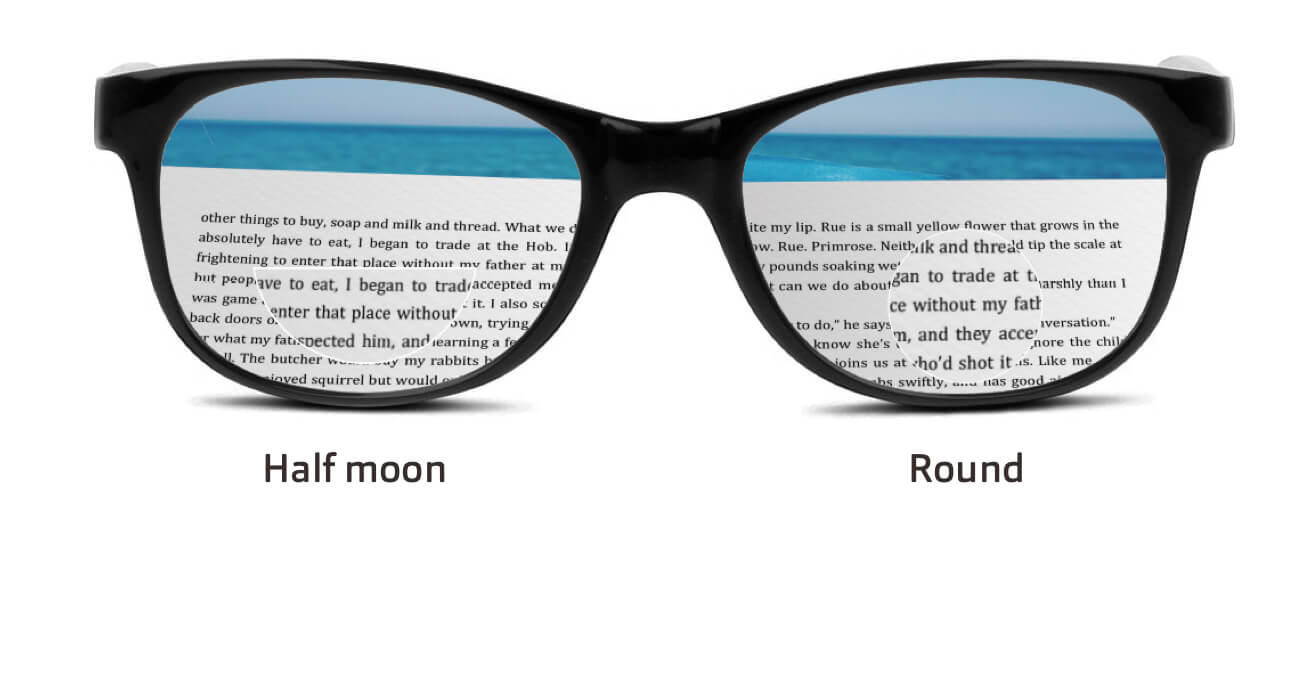 Grey outline of circular glasses with a photo of an open book with sea in the background.