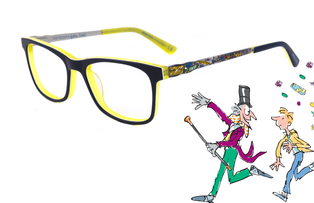 A pair of children's glasses and illustration from Charlie and the Chocolate Factory by Quentin Blake.