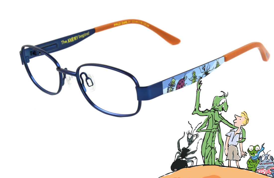 Roald Dahl glasses featuring James and the Giant Peach alongside an illustration from the book by Quentin Blake.