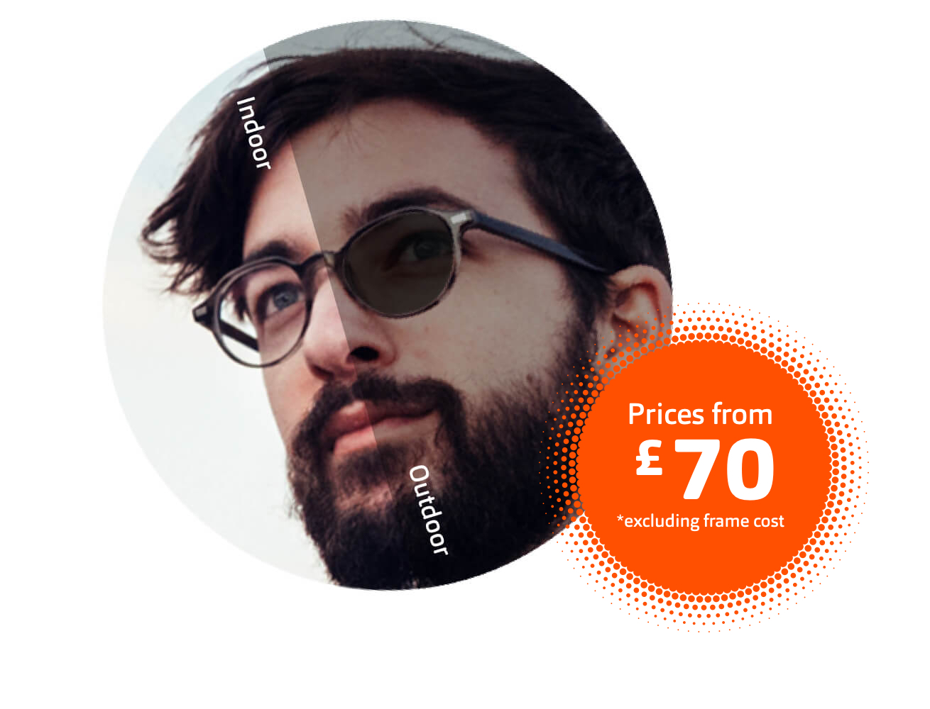Close-up circular image of man with dark hair and beard wearing sunglasses which have adaptive lenses.