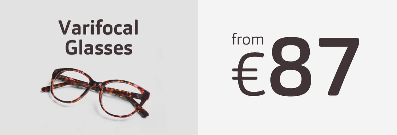 Varifocal prescription glasses from 87 Euros
